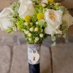 Bouquet with Roses, Hydrangea and Heart Locket Detail