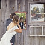Bride and Groom in Rustic Setting