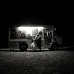 Bride and Groom with Ice Cream Treat Truck