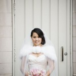 Bride with Pink Orchid and Calla Lily Bouqet