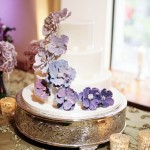 Elegant Mauve Wedding Cake with Floral Detail
