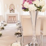 Floral Aisle Arrangement on Mirrored Pedestal
