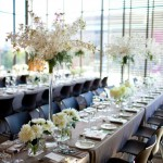 Tall Orchid and Dahlia Tablescape
