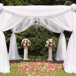 Outdoor Decor Chuppah with Chandelier and Draping