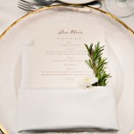 Menu And Napkin With Rosemary Detail