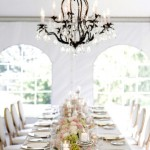 Elegant Tent Reception Table Decor and Chandelier