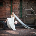 Bride Posing With Antique Pickup Truck