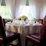 Table Arrangement Leather Chairs and Brocade