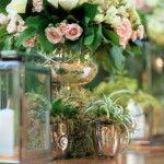 Outdoor Centerpiece Lanterns and Fern Arrangements