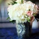 Mercury Vase with Hydrangea and Miniature Roses